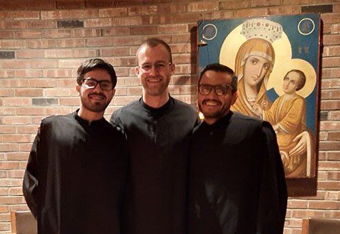 Our Novices (pictured Left to right) Br. Robert Brother Bruno and Br. Rafael